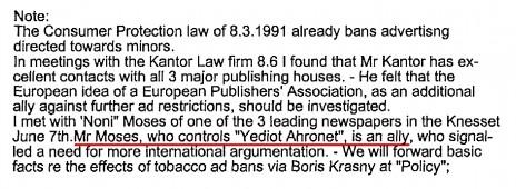 """""""בעל ברית"""". מו""""ל """"ידיעות אחרונות"""" במכתבו של מנהל בחברת פיליפ-מוריס משנת 1995 (פרט)"""