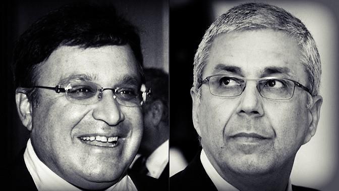 """מימין: מנכ""""ל בנק הפועלים היוצא ציון קינן ובעל השליטה לשעבר ב""""מעריב"""" עופר נמרודי (צילומים: פלאש 90)"""