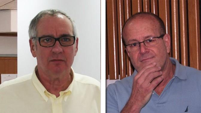 """יגאל רביד (מימין) ומשה נסטלבאום (צילומים: """"העין השביעית"""")"""