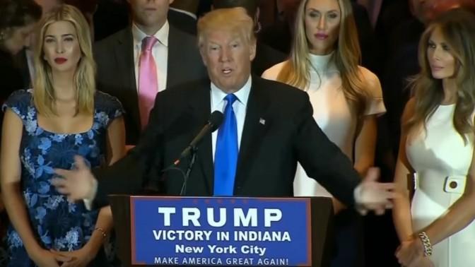 דונלד טראמפ נואם לאחר ניצחון בפריימריז באינדיאנה, 3.5.16 (צילום מסך)