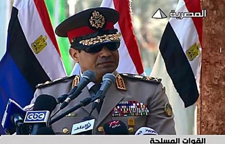 שליט מצרים, עבדל פתאח א-סיסי, נושא נאום משודר (צילום מסך)