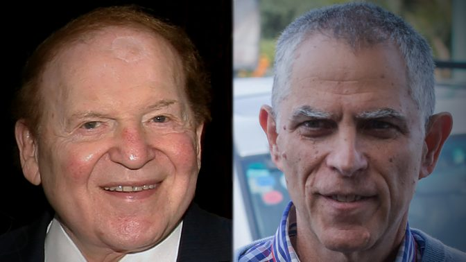 """מו""""ל """"ידיעות אחרונות"""" ארנון (נוני) מוזס והבעלים של """"ישראל היום"""" שלדון אדלסון (צילומים: פלאש 90)"""