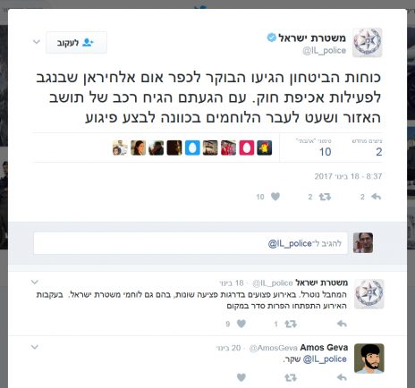 """""""עם הגעתם הגיח רכב של תושב האזור ושעט לעבר הלוחמים בכוונה לבצע פיגוע"""". משטרת ישראל, טוויטר, 18.1.17"""