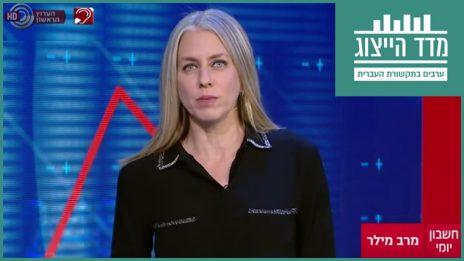 """מרב מילר מגישה את """"חשבון יומי"""" בערוץ 1 (צילום מסך)"""
