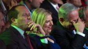 מימין: ראש הממשלה בנימין נתניהו, שרה נתניהו וראש עיריית ירושלים ניר ברקת (צילום: אוהד צויגנברג)