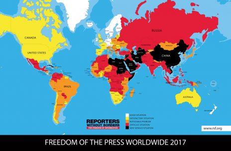מפת חופש העיתונות של עיתונאים ללא גבולות לשנת 2017. מדינות חופשיות בלבן ובצהוב, מדינות נטולות חופש עיתונות באדום ובשחור (לחצו לעיון בגרסת pdf)