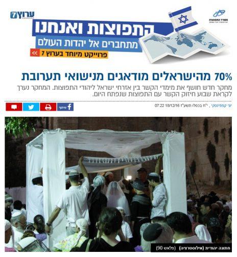 """""""70% מהישראלים מודאגים מנישואי תערובת"""". כותרת של ידיעה ממומנת באתר """"ערוץ 7"""" (צילום מסך)"""