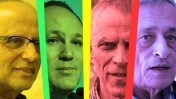 """מימין: הפובליציסט דן מרגלית, מו""""ל """"ידיעות אחרונות"""" ארנון (נוני) מוזס, עורך """"ידיעות אחרונות"""" רון ירון והעיתונאי יגאל סרנה (צילומים: פלאש 90)"""