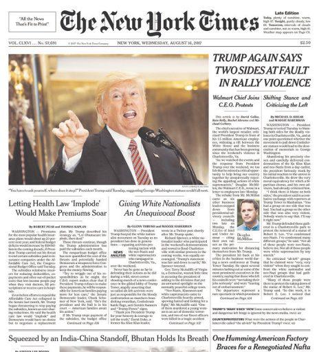 """""""ניו יורק טיימס"""": טראמפ שוב מאשים את הצדדים באלימות"""