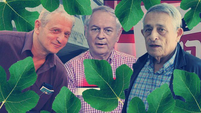 העיתונאים נחום ברנע, מוטי גילת ודן מרגלית (משמאל לימין, צילומים: פלאש 90 וצילום מסך)