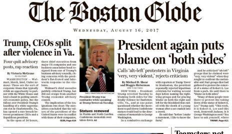 """""""בוסטון גלוב"""": הנשיא שוב מאשים את שני הצדדים"""