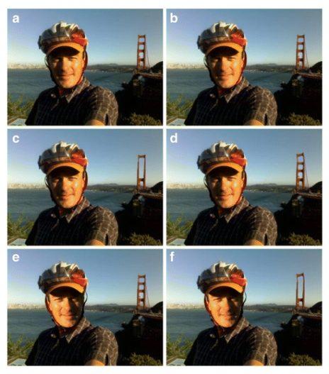 דוגמאות לטיפול בתמונות, מתוך המחקר של נייטינגייל ועמיתיה: תצלום A, התצלום המקורי, אינו מטופל כלל; בתצלום B רוטש דיוקנו של המצולם – זיעה וקמטים הועלמו; בתצלום C הוסרו חלקים מהגשר שנראה ברקע; בתצלום D הוטה מעט חלקו העליון של הגשר; בתצלום E נהפך פרצופו של המצולם באופן שאינו מתיישב עם תנאי התאורה הטבעיים; תצלום F הוא שילוב של כל המניפולציות שנכללו בגרסאות האחרות