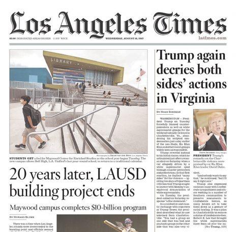 """""""לוס אנג'לס טיימס"""": טראמפ שוב מגנה את פעולות שני הצדדים בוירג'יניה"""
