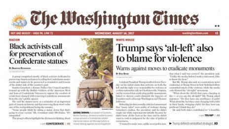 """""""וושינגטון טיימס"""": טראמפ אומר שהשמאל הקיצוני גם אשם באלימות"""