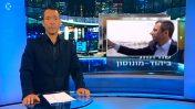 המגיש גיא זהר על רקע תצלומו של יוסי בן-דוד מטבריה, במהלך הגשת הדיווח על יוסי בן-דוד מיהוד-מונוסון, 30.8.17 (צילום מסך)