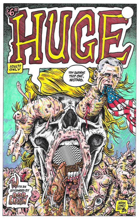 """טראמפ ופנס על כריכה החוברת """"Huge"""" של ארון לאנג (לחצו להגדלה)"""