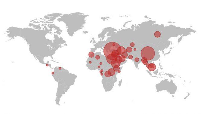 """מפת העיתונאים הכלואים ברחבי העולם ב-2017, מתוך דו""""ח הוועד להגנה על עיתונאים (CPJ)"""