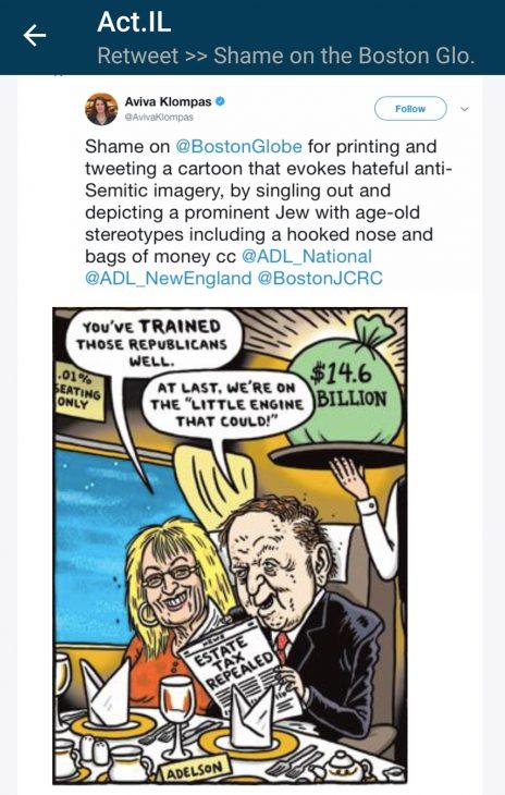 """משימה שנשלחה למשתמשי Act.il, ובה הם נדרשים להפיץ ציוץ ביקורתי על קטע מקומיקס שמתח ביקורת על שלדון ומרים אדלסון ופורסם ב""""בוסטון גלוב"""" (צילום מסך, לחצו להגדלה)"""
