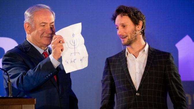 ראש הממשלה בנימין נתניהו וקוסם, 10.1.18 (צילום: יונתן זינדל)