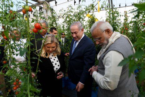 """בנימין ושרה נתניהו מבקרים בחממה הודית יחד עם ראש הממשלה נרנדרה מודי. 17.1.18 (צילום: אבי אוחיון, לע""""מ)"""