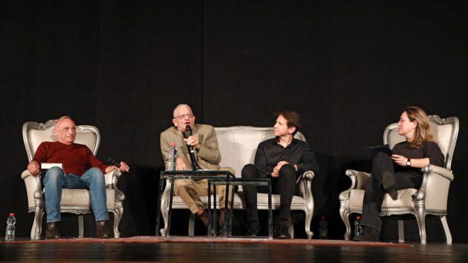 פאנל בנושא עיתונות בעידן ה-Fake News. מימין: אילנה דיין, רונן ברגמן, נחום ברנע ושמעון שיפר, 8.1.2018 (צילום: דנה קופל)