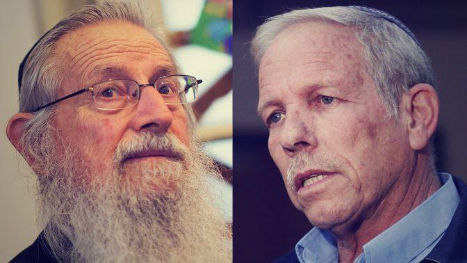 """יואל צור (מימין) והרב זלמן מלמד, שכיהנו במקביל כחברי ועד ב""""עמותת ידידי ערוץ 7"""" וכמנהלים בחברה המסחרית שמפעילה את אתר """"ערוץ 7"""" (צילומים: מיכל פתאל ויונתן זינדל)"""