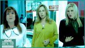 """בתחתית טבלת מדד הייצוג לשנת 2017: אושרת קוטלר, מגישת """"המגזין"""" בערוץ עשר (במרכז); רינה מצליח, מגישת """"פגוש את העיתונות"""" של חברת החדשות (משמאל); ואילה חסון, מגישת """"המטה המרכזי"""" בערוץ עשר (צילומים: צילומי מסך)"""