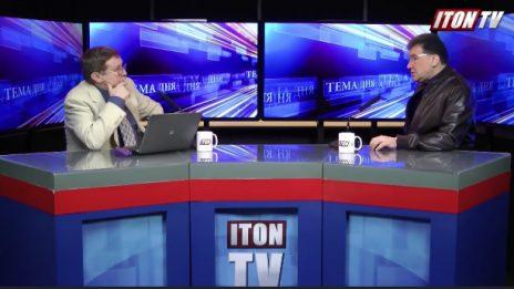 """איליה ויסברג (מימין) ואלכסנדר גור-אריה ב""""עיתון טי.וי"""" (צילום מסך)"""