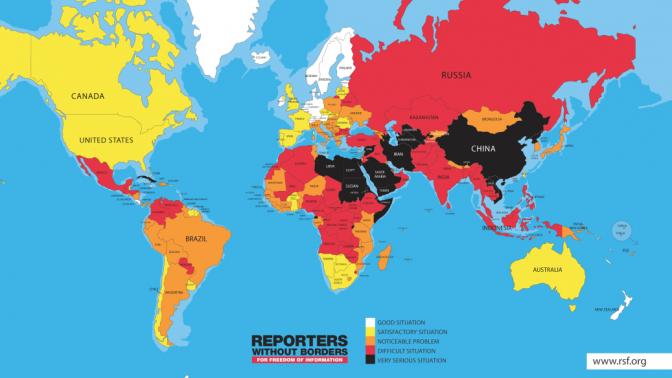 """חופש העיתונות בעולם לפי ארגון """"עיתונאים ללא גבולות"""" (צבע כהה מצביע על דירוג נמוך)"""