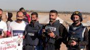 הפגנה ברפיח בעקבות הריגתו של צלם העיתונות יאסר מורתג'א, 8.4.18 (צילום: עבד רחים חטיב)
