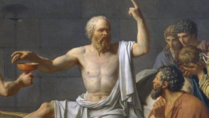 """פרט מתוך """"מותו של סוקרטס"""", ציורו של ז'אק-לואי דויד (נחלת הכלל)"""