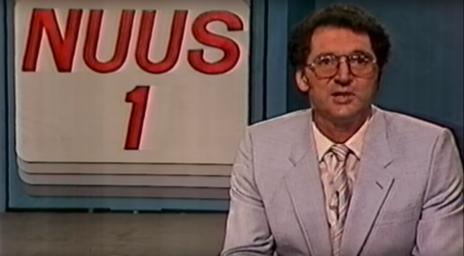 מבזק חדשות בתאגיד השידור של דרום-אפריקה, 1987 (צילום מסך)
