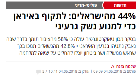 """""""ישראל היום"""", 4.5.2018"""