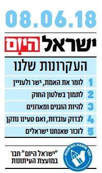 """""""ישראל היום"""", 8.6.2018"""