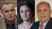 """מימין: ג'מעה אזברגה, חנין זועבי וג'מאל זחאלקה, שלושת חברי-הכנסת של בל""""ד (צילומים: הדס פרוש ויצחק הררי, דוברות הכנסת)"""
