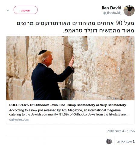 """נשיא ארה""""ב דונלד טראמפ בציוץ של """"אילן דוד"""" (צילום מסך)"""