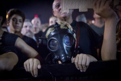 הפגנה להרחקת אסדת הגז של מאגר לווייתן מחופי מדינת ישראל, כיכר רבין, 1.9.2018 (צילום: מרים אלסטר)
