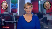 """דנה ויס במהדורת """"חדשות סוף השבוע"""" של חברת החדשות (חדשות 2), אתמול (צילום מסך). ברקע: עידן עופר (משמאל) ויצחק תשובה (צילומים: פלאש 90)"""