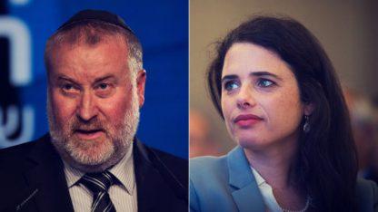 שרת המשפטים איילת שקד והיועץ המשפטי לממשלה אביחי מנדלבליט (צילומים: פלאש 90)