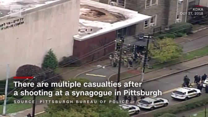 זירת הרצח בפיטסבורג (צילום מסך מתוך שידורי CNN)