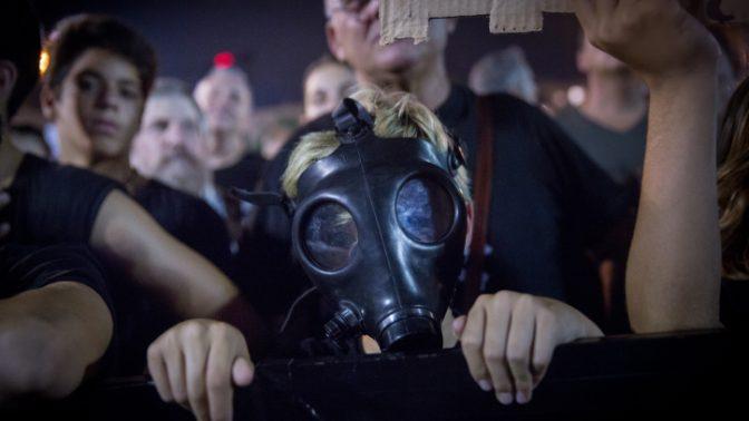 הפגנה נגד אסדת הגז, תל-אביב, 1.10.18 (צילום: מרים אלסטר)