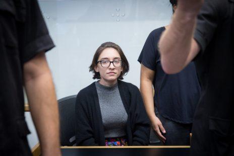 לארה אל-קאסם בבית המשפט בתל-אביב, 11.10.18 (צילום: מרים אלסטר)