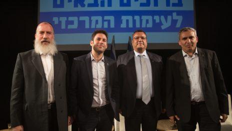 ארבעת המועמדים לראשות עיריית ירושלים. מימין: זאב אלקין, משה ליאון, עופר ברקוביץ' ויוסי דייטש (צילום: יונתן זינדל)