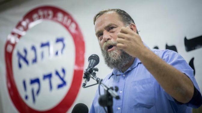 """בנצי גופשטיין, יו""""ר תנועת להב""""ה, בעצרת לזכרו של מאיר כהנא, 7.11.17 (צילום: יונתן זינדל)"""