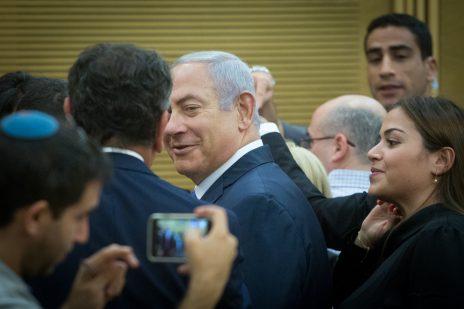 ראש ממשלת ישראל, בנימין נתניהו, בישיבה של סיעת הליכוד בכנסת. 5.11.2018 (צילום: מרים אלסטר)