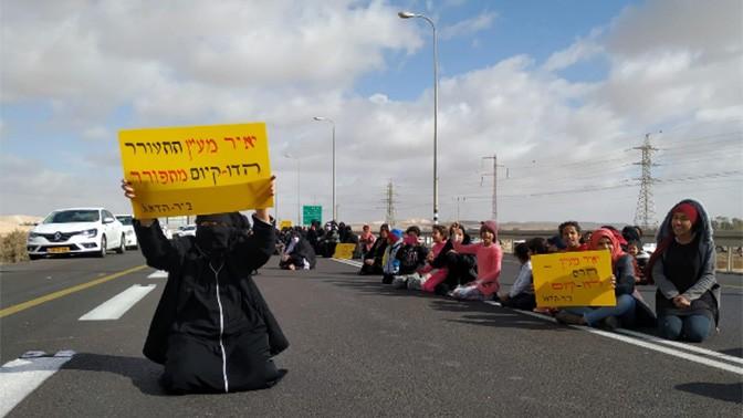 הפגנה בכביש 40, סמוך לכפר ביר-הדאג', 20.12.2018 (צילום: איב טנדלר)
