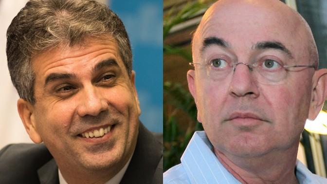 """השר אלי כהן (משמאל) ומו""""ל """"כלכליסט"""", יואל אסתרון (צילומים: יונתן זינדל ומשה שי)"""