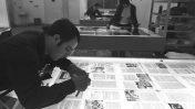"""עובד בבית ההוצאה לאור """"כתר"""", 1971 (צילום: פריץ כהן, לע""""מ)"""