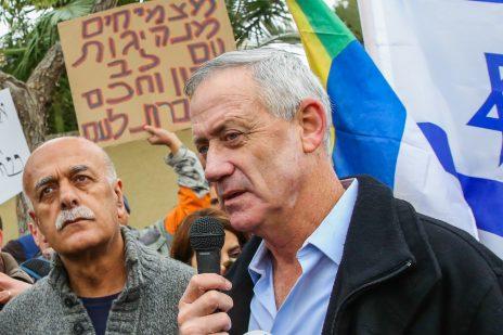 בני גנץ באירוע בחירות מחוץ לביתו בראש-העין, 14.1.2019 (צילום: פלאש 90)