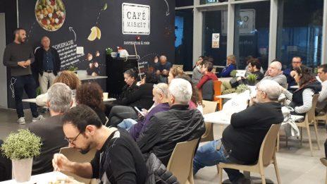"""אסיפה בחדר האוכל של """"ידיעות אחרונות"""", 21.1.2019 (צילום: ארגון העיתונאים)"""